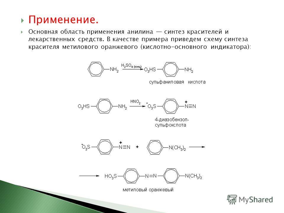 Применение. Основная область применения анилина синтез красителей и лекарственных средств. В качестве примера приведем схему синтеза красителя метилового оранжевого (кислотно-основного индикатора):