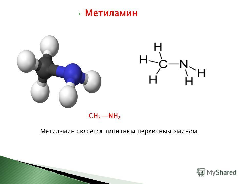 Метиламин CH 3 NH 2 Метиламин является типичным первичным амином.