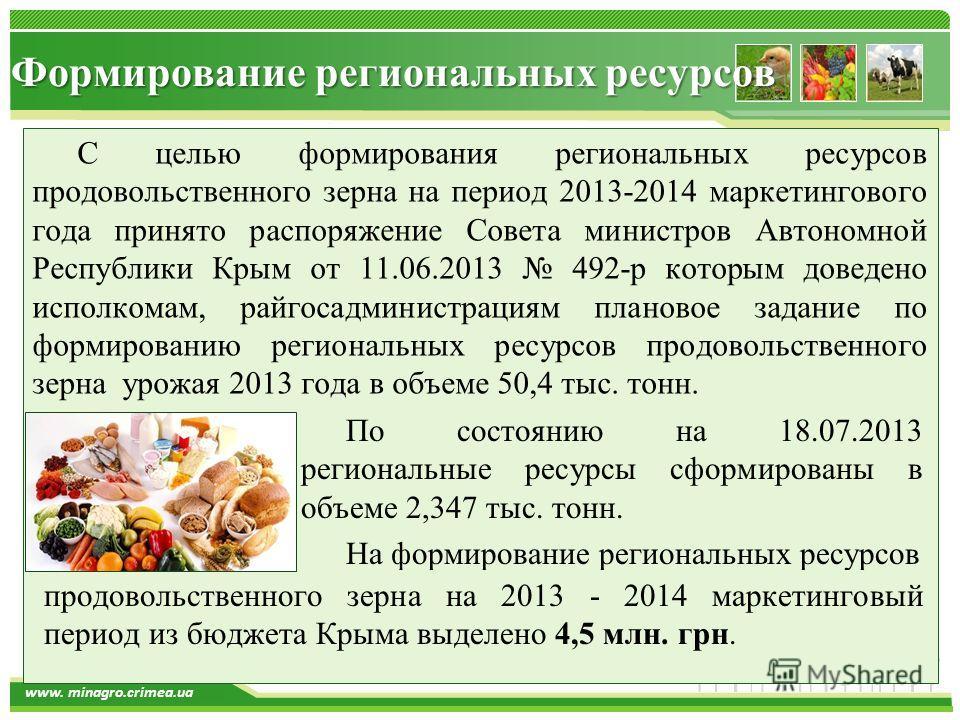 www.themegallery.com www. minagro.crimea.ua Формирование региональных ресурсов С целью формирования региональных ресурсов продовольственного зерна на период 2013-2014 маркетингового года принято распоряжение Совета министров Автономной Республики Кры