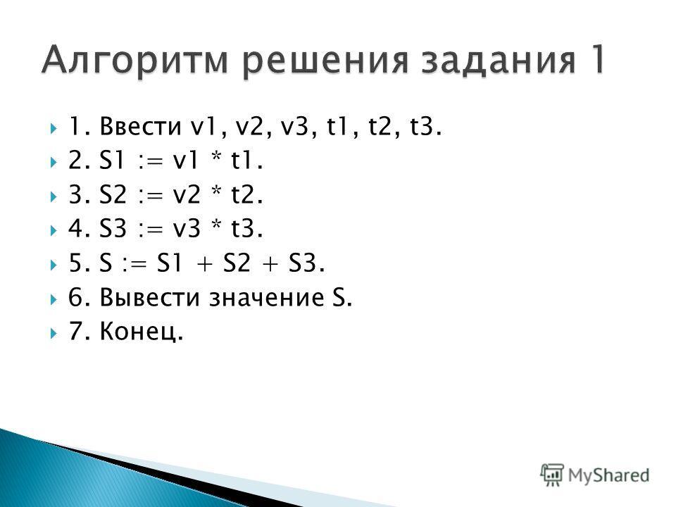 1. Ввести v1, v2, v3, t1, t2, t3. 2. S1 := v1 * t1. 3. S2 := v2 * t2. 4. S3 := v3 * t3. 5. S := S1 + S2 + S3. 6. Вывести значение S. 7. Конец.