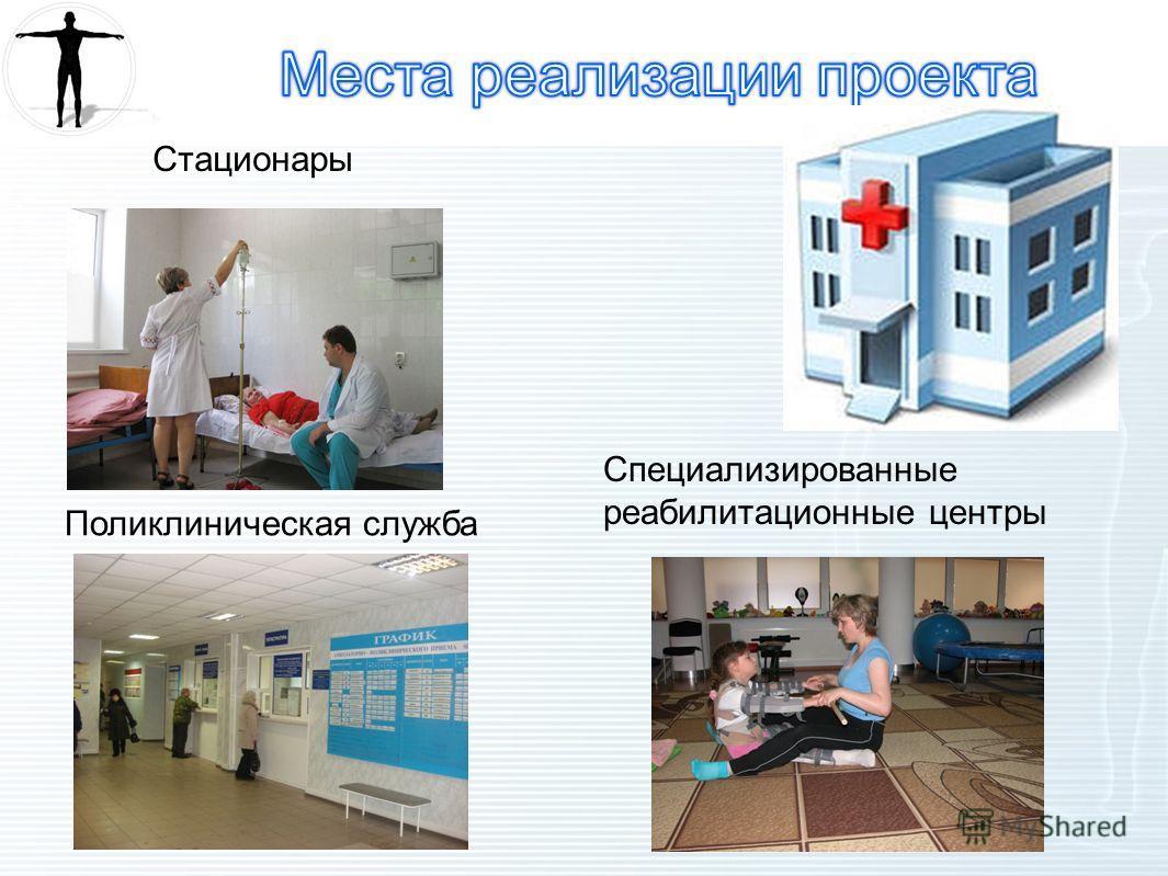 Стационары Специализированные реабилитационные центры Поликлиническая служба