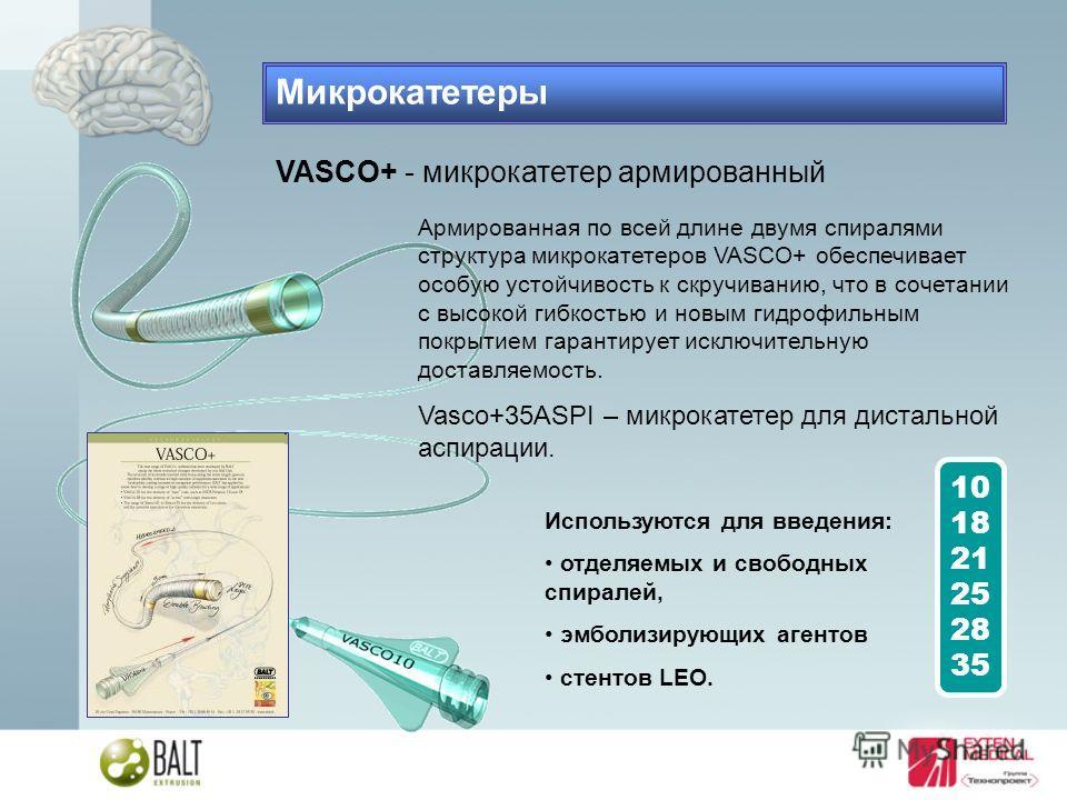 VASCO+ - микрокатетер армированный Армированная по всей длине двумя спиралями структура микрокатетеров VASCO+ обеспечивает особую устойчивость к скручиванию, что в сочетании с высокой гибкостью и новым гидрофильным покрытием гарантирует исключительну