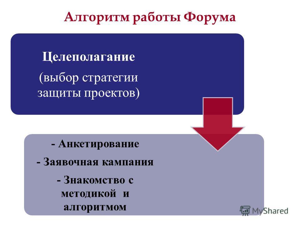 Алгоритм работы Форума Целеполагание (выбор стратегии защиты проектов) - Анкетирование - Заявочная кампания - Знакомство с методикой и алгоритмом