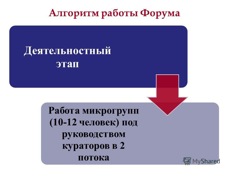 Алгоритм работы Форума Деятельностный этап Работа микрогрупп (10-12 человек) под руководством кураторов в 2 потока