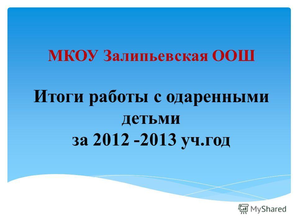 МКОУ Залипьевская ООШ Итоги работы с одаренными детьми за 2012 -2013 уч.год