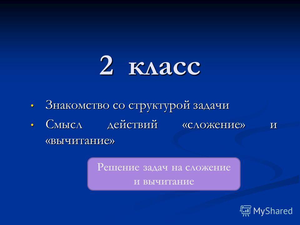 2 класс Знакомство со структурой задачи Знакомство со структурой задачи Смысл действий «сложение» и «вычитание» Смысл действий «сложение» и «вычитание» Решение задач на сложение и вычитание