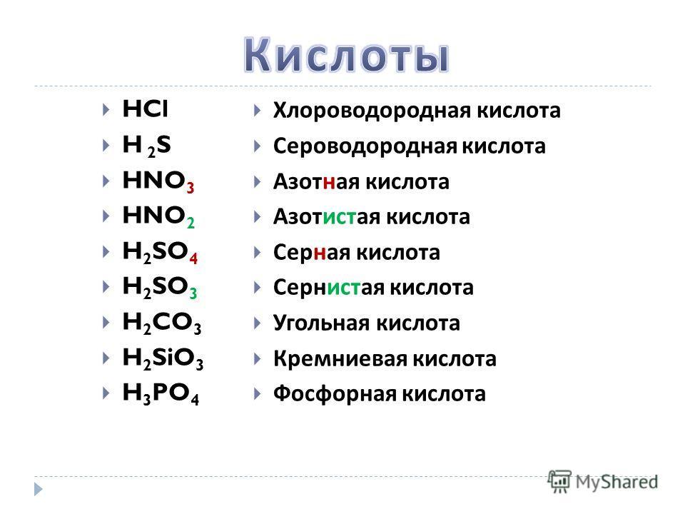 HCl H 2 S HNO 3 HNO 2 H 2 SO 4 H 2 SO 3 H 2 CO 3 H 2 SiO 3 H 3 PO 4 Хлороводородная кислота Сероводородная кислота Азотная кислота Азотистая кислота Серная кислота Сернистая кислота Угольная кислота Кремниевая кислота Фосфорная кислота