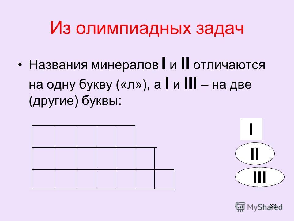 33 Из олимпиадных задач Названия минералов I и II отличаются на одну букву («л»), а I и III – на две (другие) буквы: I II III
