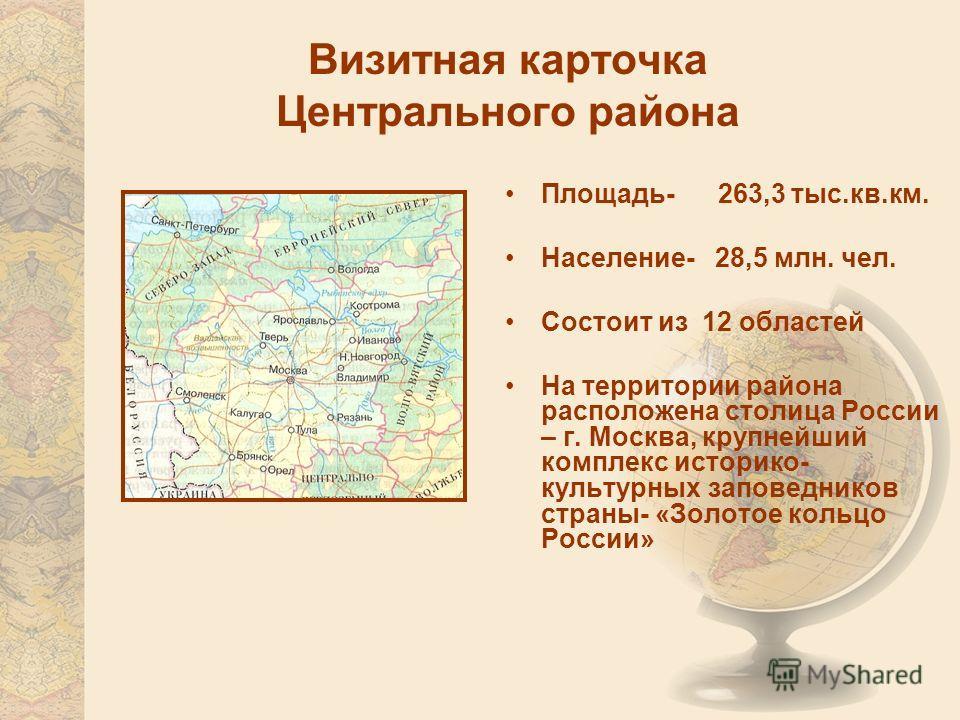 Визитная карточка Центрального района Площадь- 263,3 тыс.кв.км. Население- 28,5 млн. чел. Состоит из 12 областей На территории района расположена столица России – г. Москва, крупнейший комплекс историко- культурных заповедников страны- «Золотое кольц
