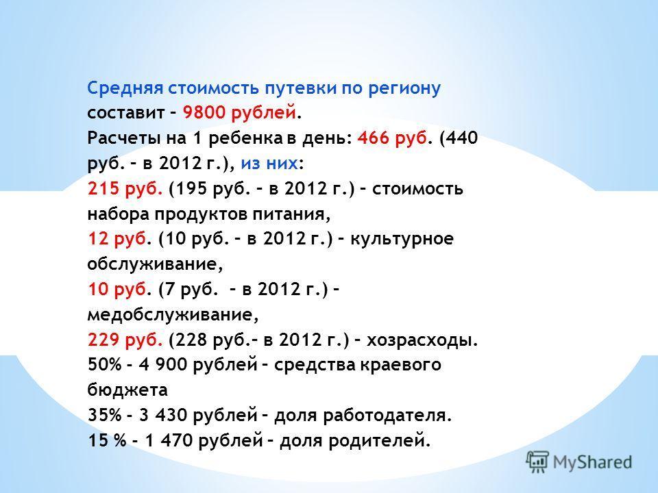 Средняя стоимость путевки по региону составит – 9800 рублей. Расчеты на 1 ребенка в день: 466 руб. (440 руб. – в 2012 г.), из них: 215 руб. (195 руб. – в 2012 г.) – стоимость набора продуктов питания, 12 руб. (10 руб. – в 2012 г.) – культурное обслуж