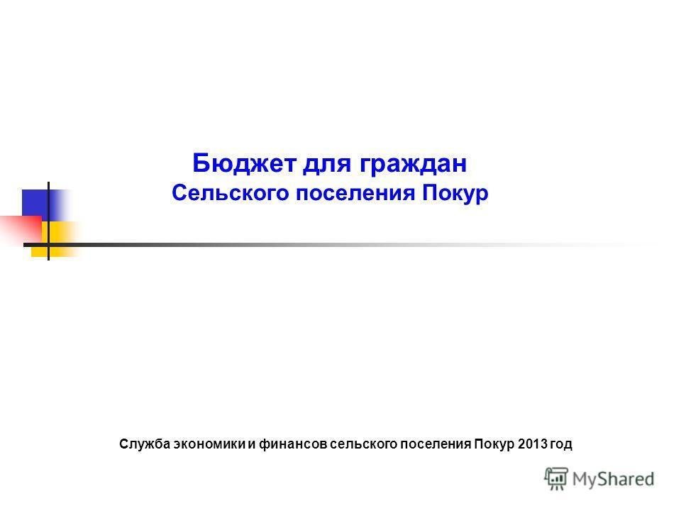 Бюджет для граждан Сельского поселения Покур Служба экономики и финансов сельского поселения Покур 2013 год