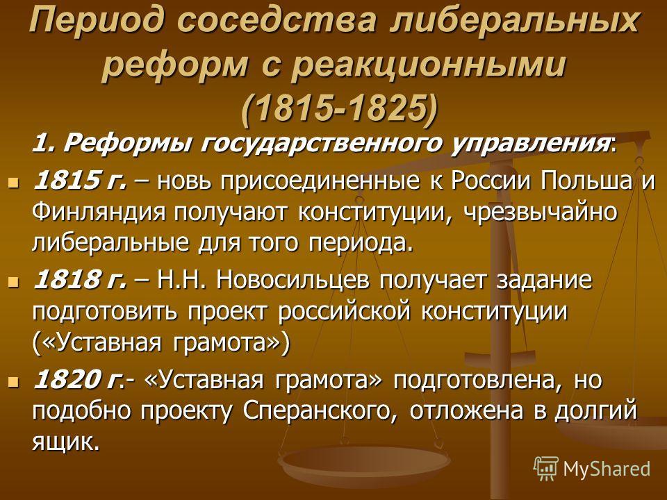 Период соседства либеральных реформ с реакционными (1815-1825) 1. Реформы государственного управления: 1. Реформы государственного управления: 1815 г. – новь присоединенные к России Польша и Финляндия получают конституции, чрезвычайно либеральные для