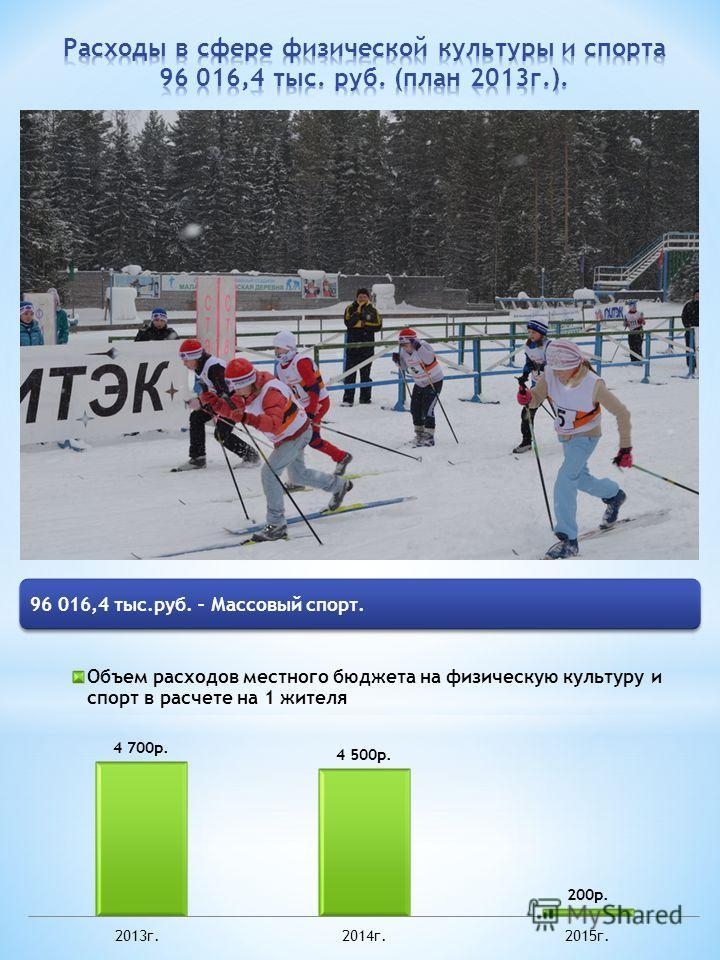 96 016,4 тыс.руб. – Массовый спорт.