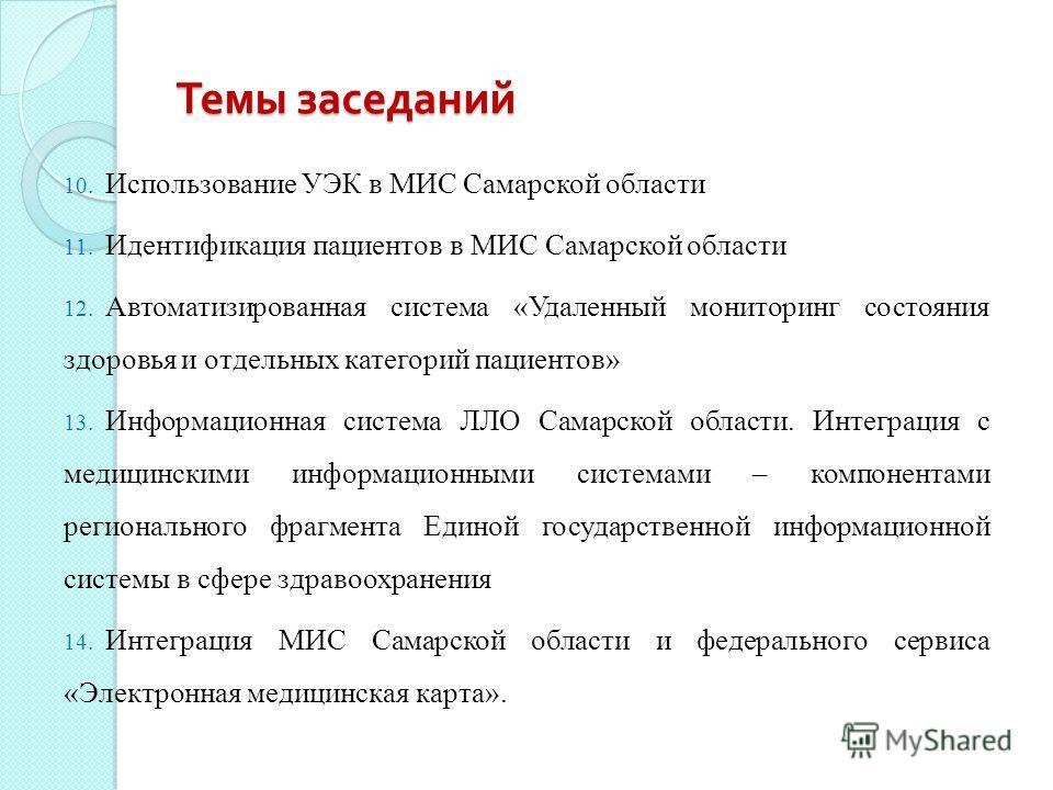 Темы заседаний 10. Использование УЭК в МИС Самарской области 11. Идентификация пациентов в МИС Самарской области 12. Автоматизированная система «Удаленный мониторинг состояния здоровья и отдельных категорий пациентов» 13. Информационная система ЛЛО С