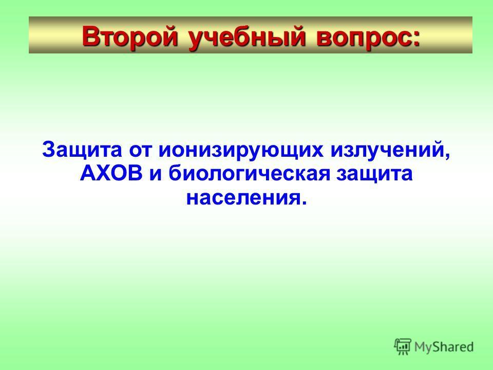 Второй учебный вопрос: Защита от ионизирующих излучений, АХОВ и биологическая защита населения.