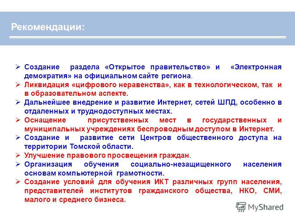 Создание раздела «Открытое правительство» и «Электронная демократия» на официальном сайте региона. Ликвидация «цифрового неравенства», как в технологическом, так и в образовательном аспекте. Дальнейшее внедрение и развитие Интернет, сетей ШПД, особен