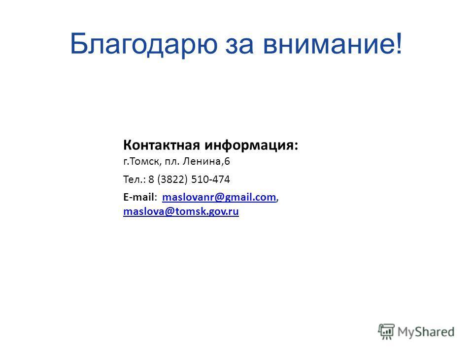 Благодарю за внимание! Контактная информация: г.Томск, пл. Ленина,6 Тел.: 8 (3822) 510-474 E-mail: maslovanr@gmail.com, maslova@tomsk.gov.rumaslovanr@gmail.com maslova@tomsk.gov.ru