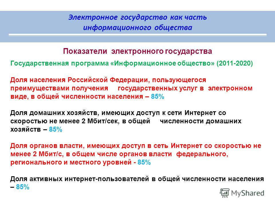 Электронное государство как часть информационного общества Показатели электронного государства Государственная программа «Информационное общество» (2011-2020) Доля населения Российской Федерации, пользующегося преимуществами получения государственных