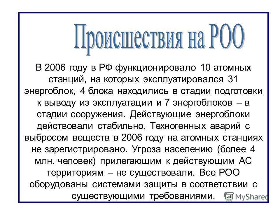 В 2006 году в РФ функционировало 10 атомных станций, на которых эксплуатировался 31 энергоблок, 4 блока находились в стадии подготовки к выводу из эксплуатации и 7 энергоблоков – в стадии сооружения. Действующие энергоблоки действовали стабильно. Тех