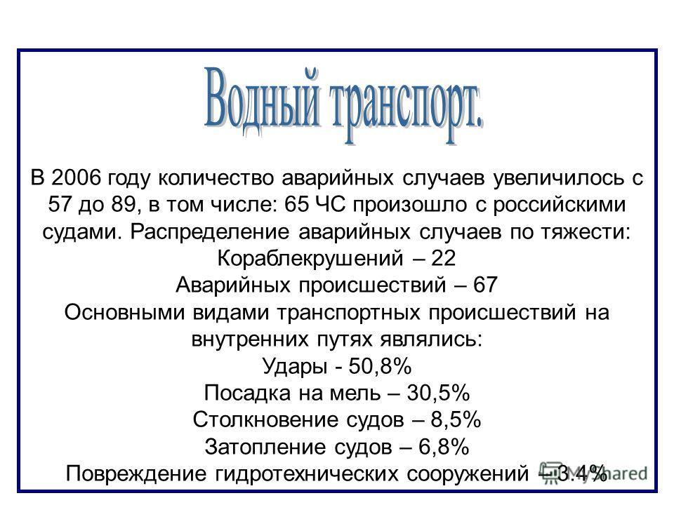 В 2006 году количество аварийных случаев увеличилось с 57 до 89, в том числе: 65 ЧС произошло с российскими судами. Распределение аварийных случаев по тяжести: Кораблекрушений – 22 Аварийных происшествий – 67 Основными видами транспортных происшестви