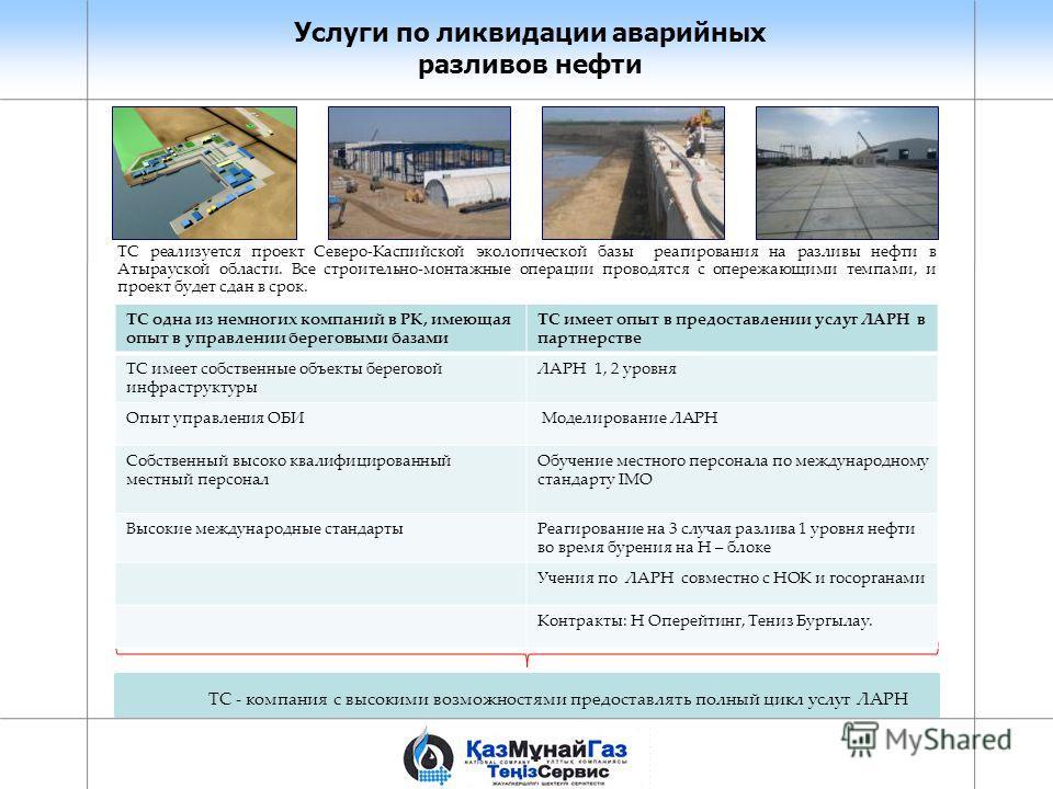 Услуги по ликвидации аварийных разливов нефти TС реализуется проект Северо-Каспийской экологической базы реагирования на разливы нефти в Атырауской области. Все строительно-монтажные операции проводятся с опережающими темпами, и проект будет сдан в с