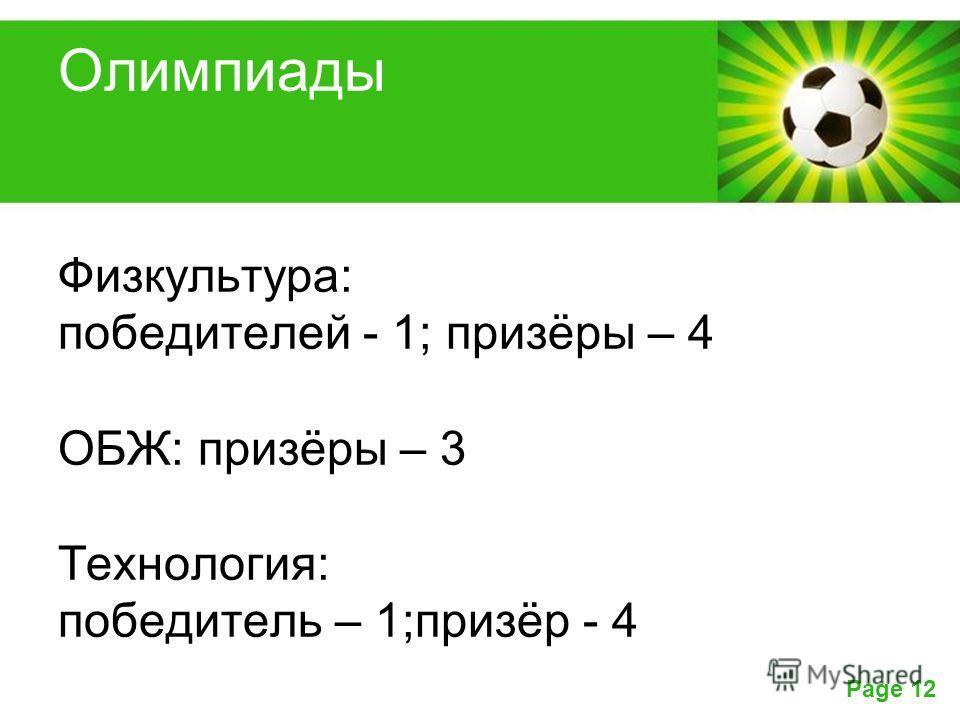 Powerpoint Templates Page 12 Олимпиады Физкультура: победителей - 1; призёры – 4 ОБЖ: призёры – 3 Технология: победитель – 1;призёр - 4