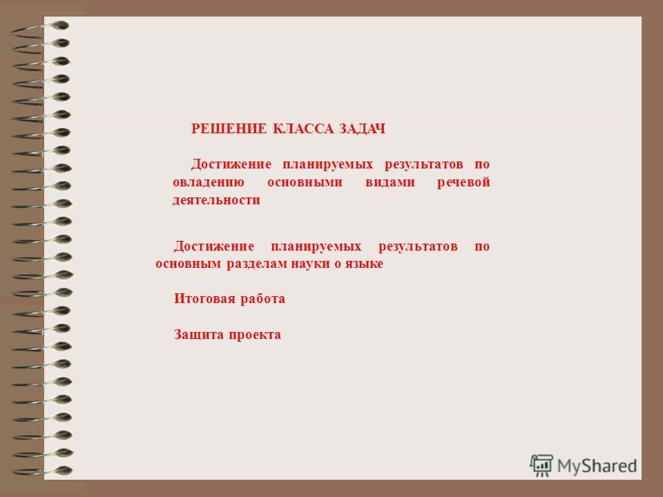 Достижение планируемых результатов по основным разделам науки о языке Итоговая работа Защита проекта РЕШЕНИЕ КЛАССА ЗАДАЧ Достижение планируемых результатов по овладению основными видами речевой деятельности