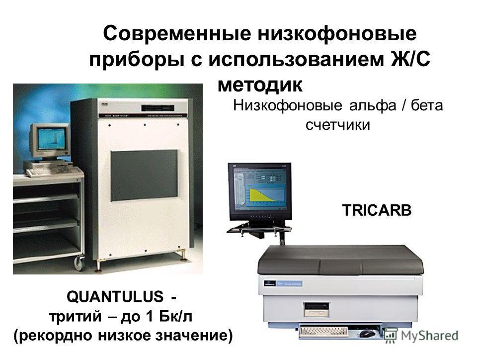QUANTULUS - тритий – до 1 Бк/л (рекордно низкое значение) TRICARB Низкофоновые альфа / бета счетчики Современные низкофоновые приборы с использованием Ж/С методик