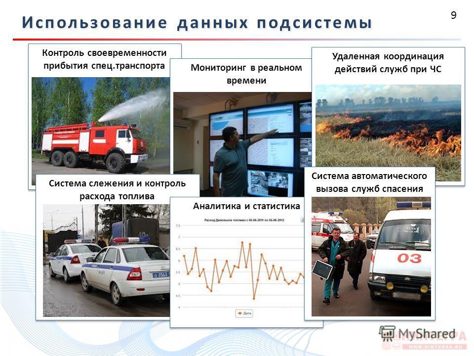 9 Использование данных подсистемы Контроль своевременности прибытия спец.транспорта Мониторинг в реальном времени Система слежения и контроль расхода топлива Удаленная координация действий служб при ЧС Аналитика и статистика Система автоматического в