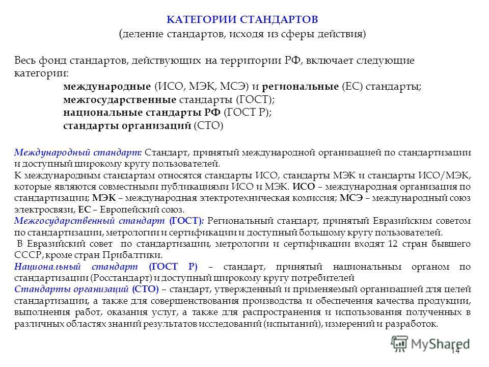 14 КАТЕГОРИИ СТАНДАРТОВ ( деление стандартов, исходя из сферы действия) Весь фонд стандартов, действующих на территории РФ, включает следующие категории: международные (ИСО, МЭК, МСЭ) и региональные (ЕС) стандарты; межгосударственные стандарты (ГОСТ)