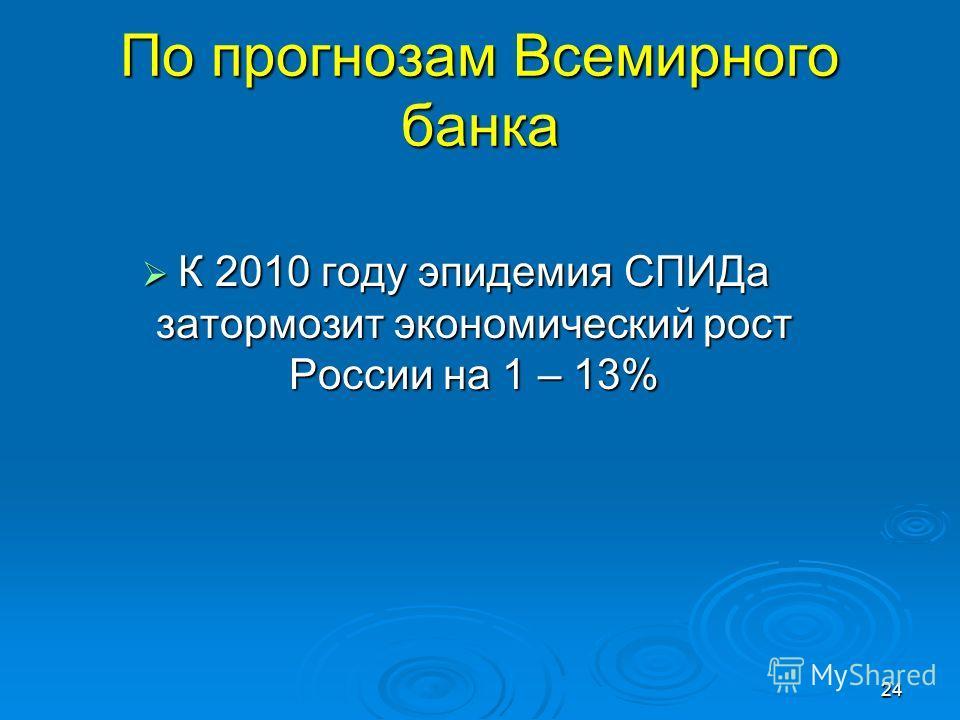 24 По прогнозам Всемирного банка К 2010 году эпидемия СПИДа затормозит экономический рост России на 1 – 13% К 2010 году эпидемия СПИДа затормозит экономический рост России на 1 – 13%