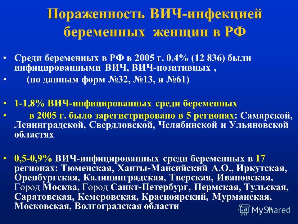 33 Пораженность ВИЧ-инфекцией беременных женщин в РФ Среди беременных в РФ в 2005 г. 0,4% (12 836) были инфицированными ВИЧ, ВИЧ-позитивных, (по данным форм 32, 13, и 61) 1-1,8% ВИЧ-инфицированных среди беременных в 2005 г. было зарегистрировано в 5
