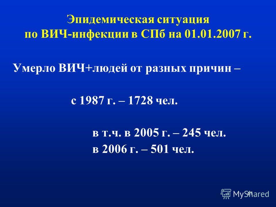 47 Умерло ВИЧ+людей от разных причин – с 1987 г. – 1728 чел. в т.ч. в 2005 г. – 245 чел. в 2006 г. – 501 чел. Эпидемическая ситуация по ВИЧ-инфекции в СПб на 01.01.2007 г.