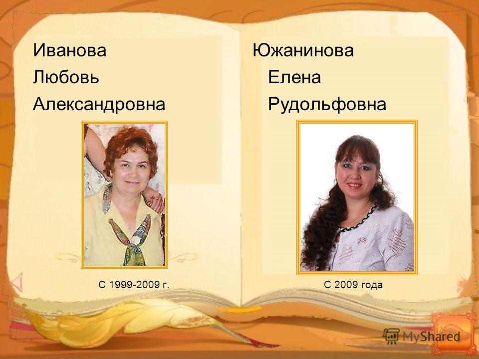 Иванова Любовь Александровна С 1999-2009 г. Южанинова Елена Рудольфовна С 2009 года
