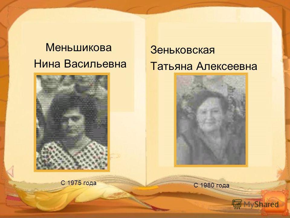 Меньшикова Нина Васильевна С 1975 года Зеньковская Татьяна Алексеевна С 1980 года