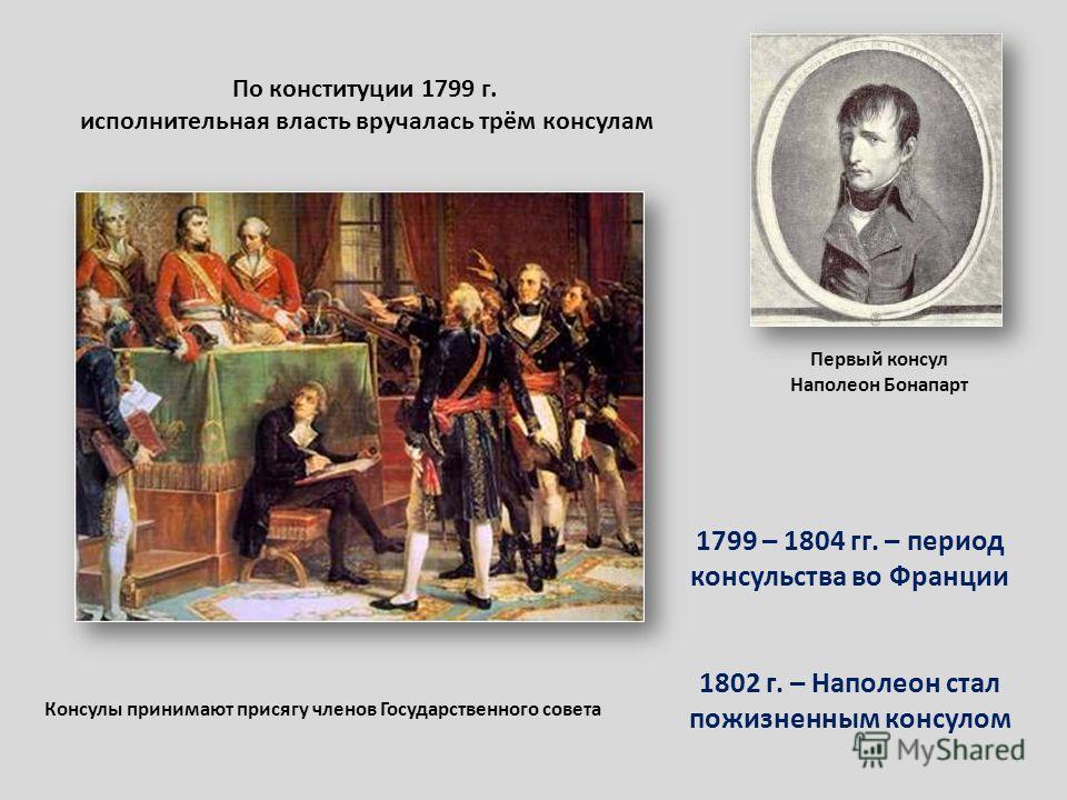 Первый консул Наполеон Бонапарт По конституции 1799 г. исполнительная власть вручалась трём консулам Консулы принимают присягу членов Государственного совета 1799 – 1804 гг. – период консульства во Франции 1802 г. – Наполеон стал пожизненным консулом