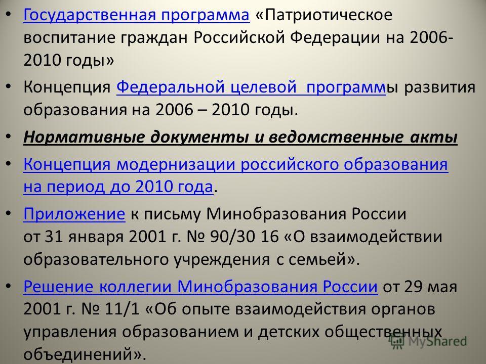 Государственная программа «Патриотическое воспитание граждан Российской Федерации на 2006- 2010 годы» Государственная программа Концепция Федеральной целевой программы развития образования на 2006 – 2010 годы.Федеральной целевой программ Нормативные
