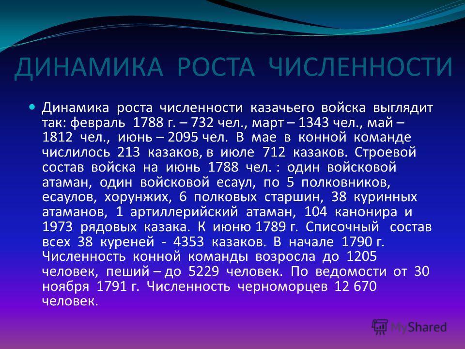 ДИНАМИКА РОСТА ЧИСЛЕННОСТИ Динамика роста численности казачьего войска выглядит так: февраль 1788 г. – 732 чел., март – 1343 чел., май – 1812 чел., июнь – 2095 чел. В мае в конной команде числилось 213 казаков, в июле 712 казаков. Строевой состав вой