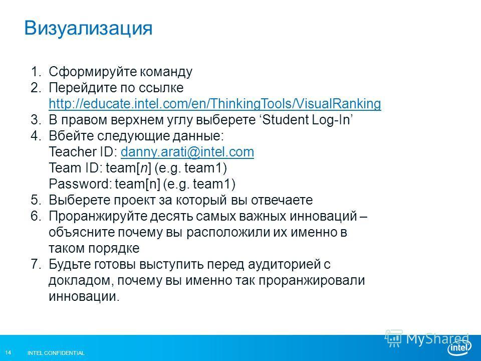 INTEL CONFIDENTIAL 14 Визуализация 1.Сформируйте команду 2.Перейдите по ссылке http://educate.intel.com/en/ThinkingTools/VisualRanking http://educate.intel.com/en/ThinkingTools/VisualRanking 3.В правом верхнем углу выберете Student Log-In 4.Вбейте сл