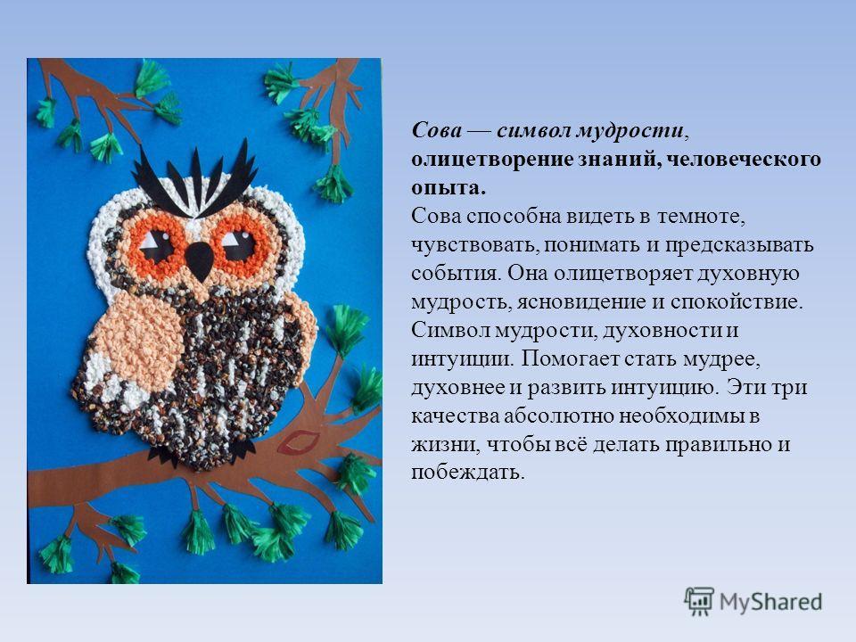 Сова символ мудрости, олицетворение знаний, человеческого опыта. Сова способна видеть в темноте, чувствовать, понимать и предсказывать события. Она олицетворяет духовную мудрость, ясновидение и спокойствие. Символ мудрости, духовности и интуиции. Пом
