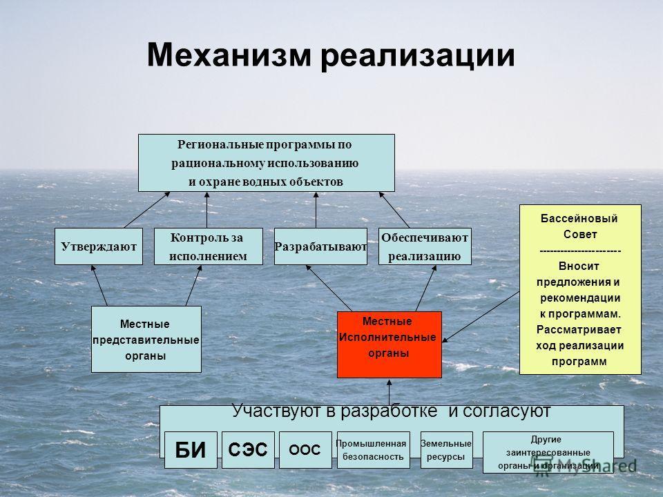 Механизм реализации Местные представительные органы Местные Исполнительные органы Контроль за исполнением Региональные программы по рациональному использованию и охране водных объектов Утверждают Обеспечивают реализацию Бассейновый Совет ------------