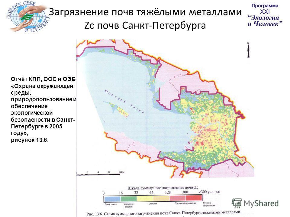 Загрязнение почв тяжёлыми металлами Zc почв Санкт-Петербурга Отчёт КПП, ООС и ОЭБ «Охрана окружающей среды, природопользование и обеспечение экологической безопасности в Санкт- Петербурге в 2005 году», рисунок 13.6.