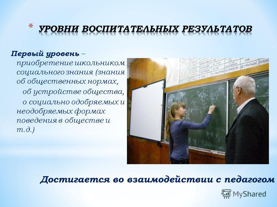 Первый уровень – приобретение школьником социального знания (знания об общественных нормах, об устройстве общества, о социально одобряемых и неодобряемых формах поведения в обществе и т.д.) Достигается во взаимодействии с педагогом