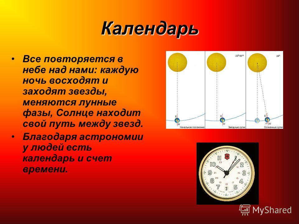 Календарь Все повторяется в небе над нами: каждую ночь восходят и заходят звезды, меняются лунные фазы, Солнце находит свой путь между звезд. Благодаря астрономии у людей есть календарь и счет времени.