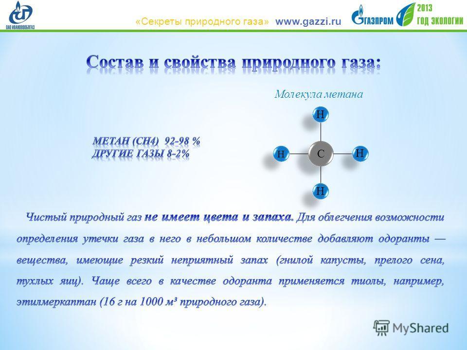С Н Н Н Н Молекула метана www.gazzi.ru«Секреты природного газа»