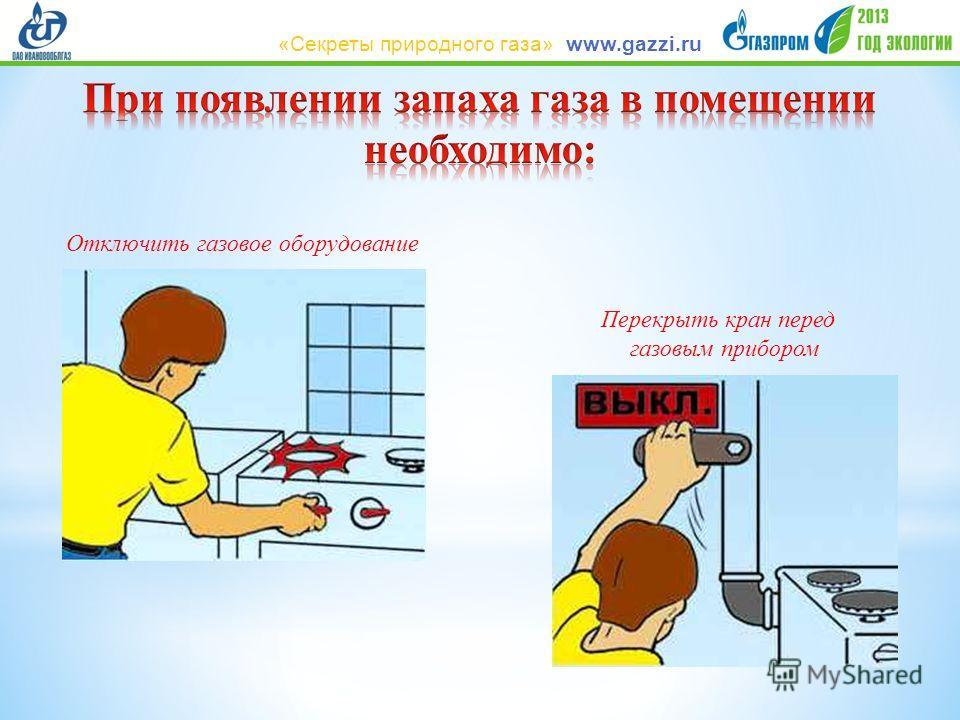 Отключить газовое оборудование Перекрыть кран перед газовым прибором www.gazzi.ru«Секреты природного газа»