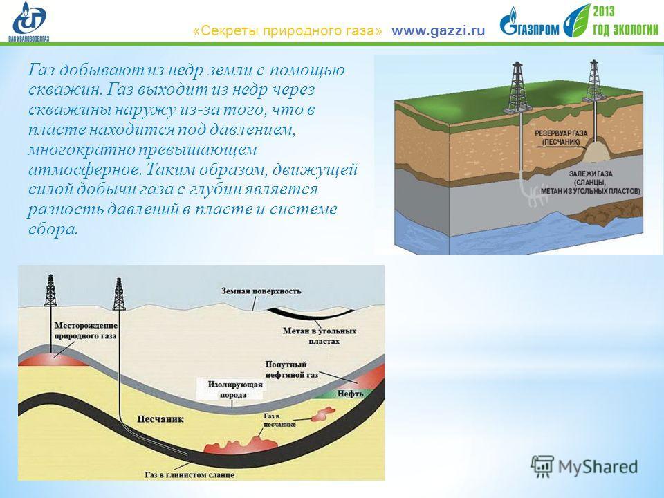 Газ добывают из недр земли с помощью скважин. Газ выходит из недр через скважины наружу из-за того, что в пласте находится под давлением, многократно превышающем атмосферное. Таким образом, движущей силой добычи газа с глубин является разность давлен