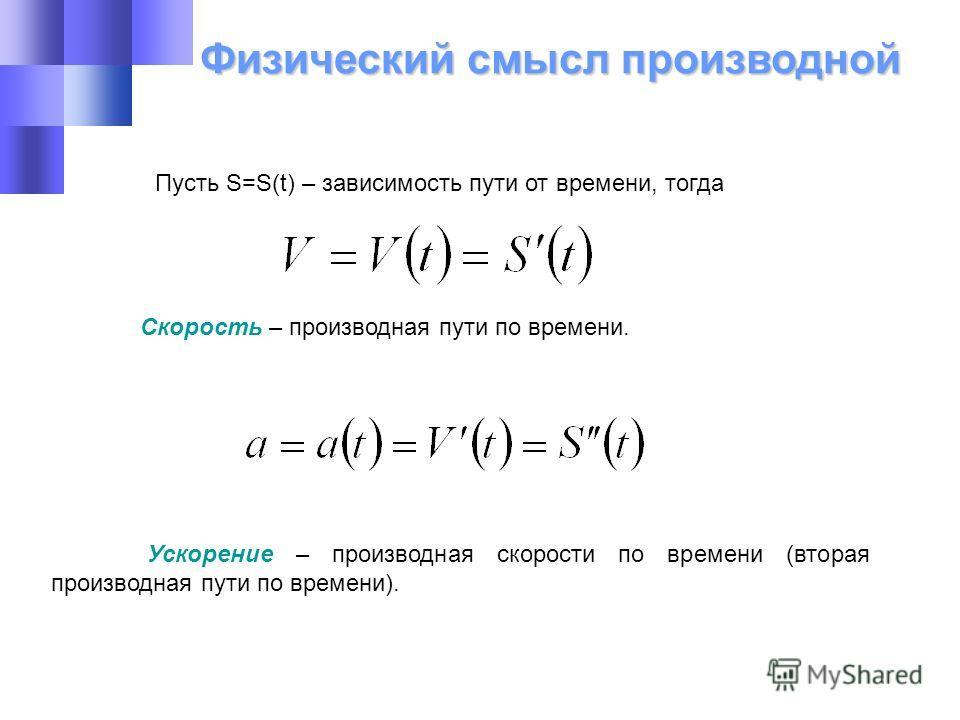 Физический смысл производной Пусть S=S(t) – зависимость пути от времени, тогда Скорость – производная пути по времени. Ускорение – производная скорости по времени (вторая производная пути по времени).