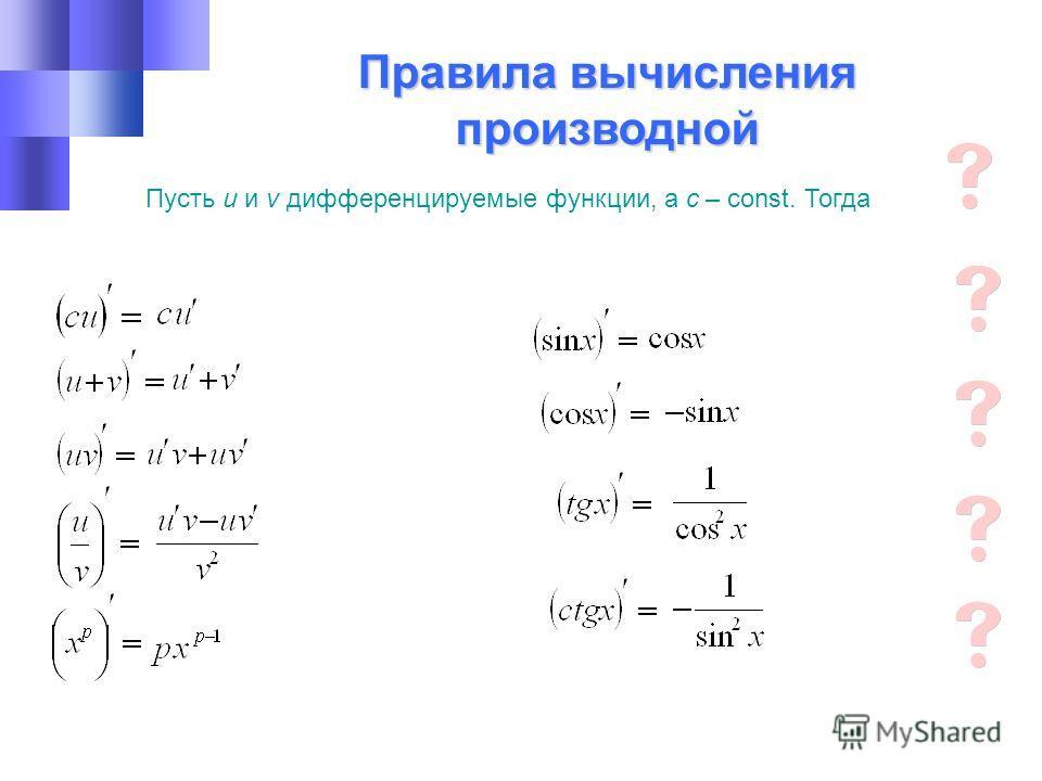 Правила вычисления производной Пусть u и v дифференцируемые функции, а с – const. Тогда