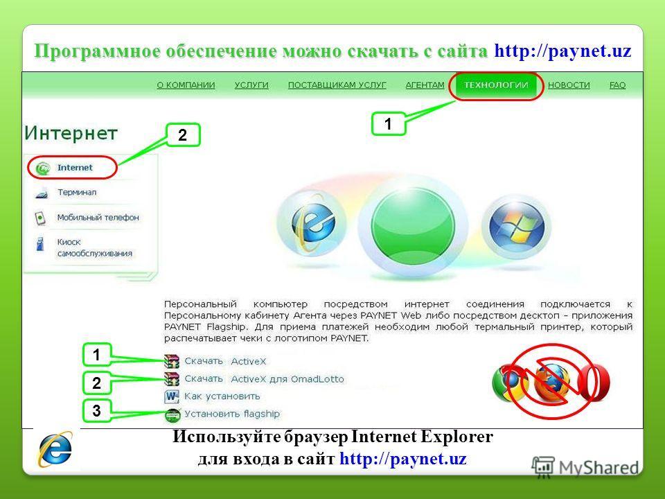 Программное обеспечение можно скачать с сайта Программное обеспечение можно скачать с сайта http://paynet.uz 1 2 3 1 2 Используйте браузер Internet Explorer для входа в сайт http://paynet.uz